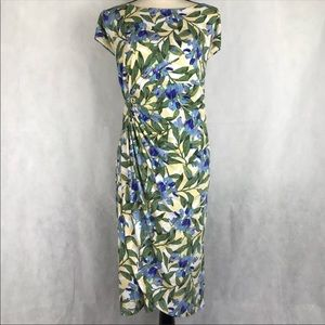 Connected Apparel Floral Print Faux Wrap Dress NWT